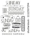 hand writing set of sunday... | Shutterstock .eps vector #1112537294