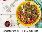 healthy dinner.  salad bowl... | Shutterstock . vector #1112539685
