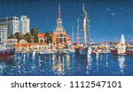 yachts on the background of the ... | Shutterstock . vector #1112547101