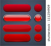 set of blank red buttons for... | Shutterstock .eps vector #111254909
