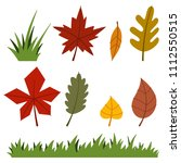 autumn leaves and grass. vector ... | Shutterstock .eps vector #1112550515