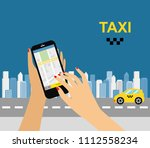 taxi service. smartphone and... | Shutterstock .eps vector #1112558234