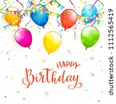 red text happy birthday on... | Shutterstock . vector #1112565419