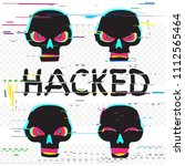 glitch black hacker skulls set... | Shutterstock . vector #1112565464