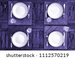 table setting from above  in... | Shutterstock . vector #1112570219