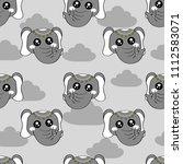 cute kids elephant pattern for... | Shutterstock . vector #1112583071