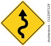 winding road sign on white... | Shutterstock .eps vector #1112597129