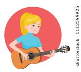 musician playing guitar. blonde ...   Shutterstock .eps vector #1112599925