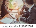 business team working on... | Shutterstock . vector #1112609009