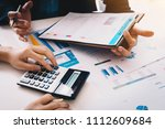 view from above.business people ...   Shutterstock . vector #1112609684