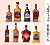 best whiskey set bottles | Shutterstock .eps vector #1112612624