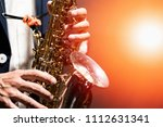 saxophone with microphone ... | Shutterstock . vector #1112631341