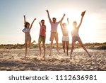 group of cheerful young friends ... | Shutterstock . vector #1112636981