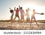 back view of excited young... | Shutterstock . vector #1112636984