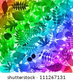 Beautiful abstract colorful leaves environmental nature background - stock photo