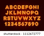 red fluorescent neon font on... | Shutterstock .eps vector #1112672777