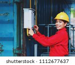 happy young engineering woman... | Shutterstock . vector #1112677637