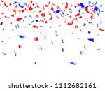 red blue glossy confetti flying ... | Shutterstock .eps vector #1112682161