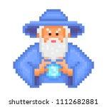 evil wizard putting spell ... | Shutterstock .eps vector #1112682881