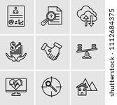 set of 9 simple editable icons... | Shutterstock .eps vector #1112684375