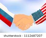 usa and russia handshake ... | Shutterstock . vector #1112687207