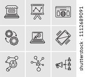 set of 9 simple editable icons... | Shutterstock .eps vector #1112689091