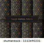 vector set of eight golden... | Shutterstock .eps vector #1112690231