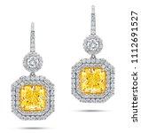 18k white gold earrings with... | Shutterstock . vector #1112691527