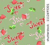 sweet strawberry watercolor... | Shutterstock . vector #1112695301