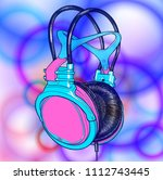 bright colored headphones on a... | Shutterstock .eps vector #1112743445