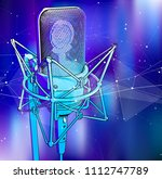a professional microphone on a... | Shutterstock .eps vector #1112747789