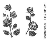 black silhouette roses and... | Shutterstock .eps vector #1112784224