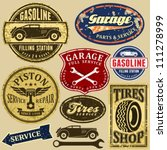 vintage automotive labels and... | Shutterstock .eps vector #111278999