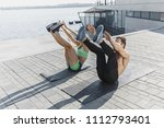 fit fitness woman and man doing ... | Shutterstock . vector #1112793401