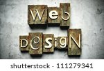 Web design concept, retro vintage letterpress type on grunge background - stock photo