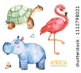 Stock photo africa watercolor set safari collection with flamingo hippo turtle stones watercolor cute animals 1112798021