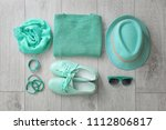 flat lay composition with set... | Shutterstock . vector #1112806817