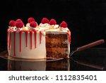 raspberry cream mousse cake no... | Shutterstock . vector #1112835401
