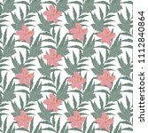 tropical flowers and leaves... | Shutterstock . vector #1112840864