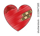 heart with bandages scribble | Shutterstock .eps vector #1112847185