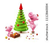 banner with family of pig ... | Shutterstock .eps vector #1112860004
