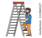 man climbing stepladder... | Shutterstock .eps vector #1112860127