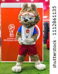 Small photo of MOSCOW, RUSSIA - MARCH 23, 2018: Official mascot Zabivaka of FIFA World Cup 2018 in Moscow, Russia
