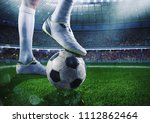 soccer player with soccerball... | Shutterstock . vector #1112862464