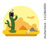 vulture in the cactus desert... | Shutterstock .eps vector #1112863004