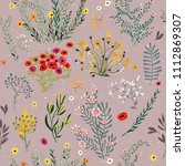 pattern with doodle flowers   Shutterstock .eps vector #1112869307