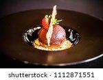 dessert  black  plate  elegant  ... | Shutterstock . vector #1112871551