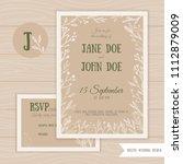rustic wedding set with rsvp... | Shutterstock .eps vector #1112879009