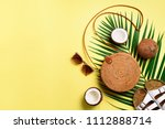 stylish rattan bag  coconut ... | Shutterstock . vector #1112888714