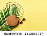 round rattan bag  sunglasses on ... | Shutterstock . vector #1112888717